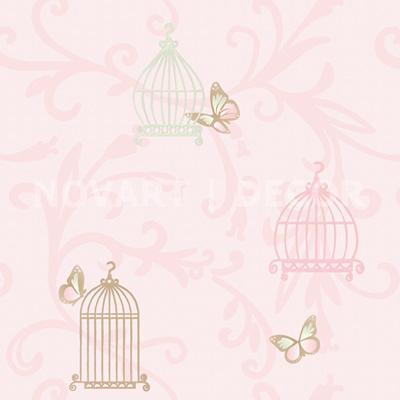 Papel de parede com gaiolas rosa