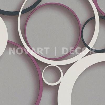Papel de parede 3D círculos fundo cinza