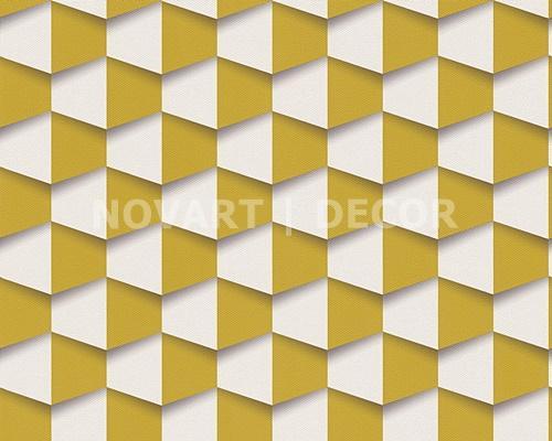 Papel de parede 3D geométrico amarelo