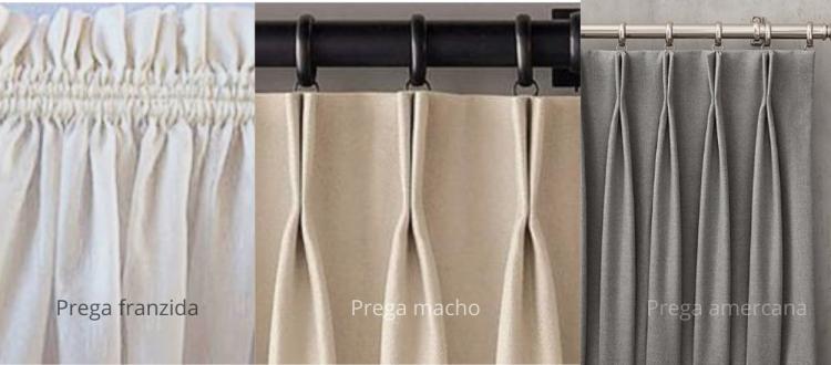 Tipos de pregas de cortinas
